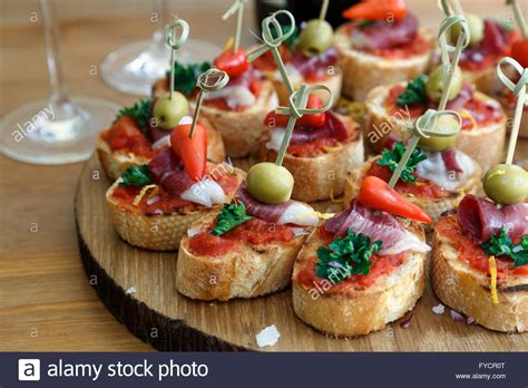 canapé cuisine pinchos tapas canapes finger food stock photo royalty free image 102929032
