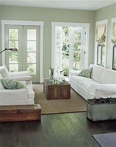 Love the light sage green wall color w the dark wood for Living room ideas with sage painted walls