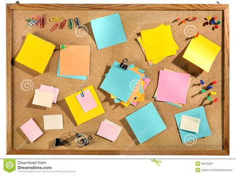 post it bureau blank colorful post it notes and office supplies on cork