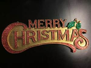 Vintage plastic merry christmas sign wall hanging gold red