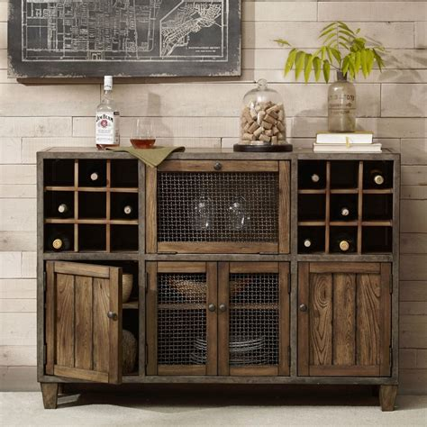 wine and liquor cabinet industrial rustic liquor storage wine rack wood buffet