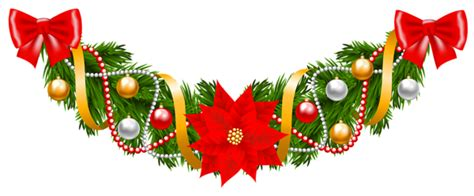 xmas swag png pine deco garland with poinsettia png clipart image gallery yopriceville high