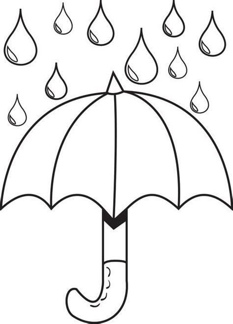 umbrella  raindrops spring coloring page diy