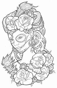 Beautiful Sugar Skull Maiden Colouring Page Tattoos