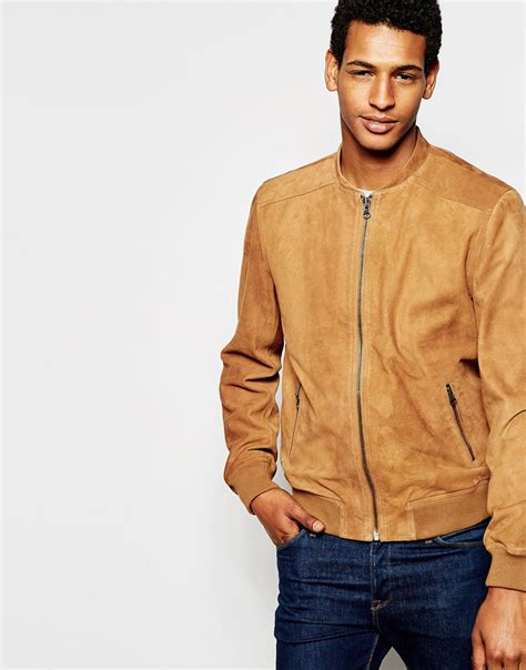 bomber suede lyst selected suede bomber jacket in brown for
