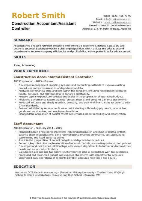assistant controller resume samples qwikresume
