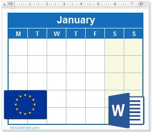 calendar eu holidays ms word