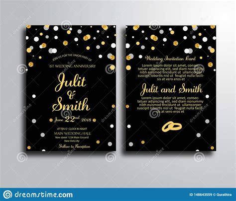 Black Wedding Invitation Card Template Stock Illustration