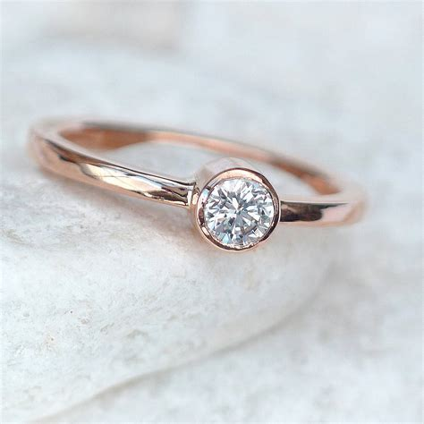 Diamond Engagement Ring In 18ct Rose Gold By Lilia Nash