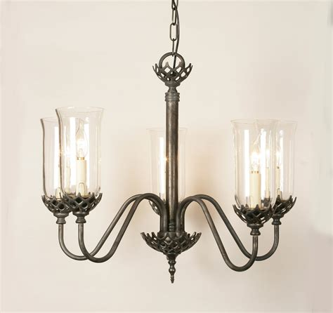 solid brass 5 light pendant with clear glass shades