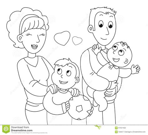 coloring family vector stock vector image