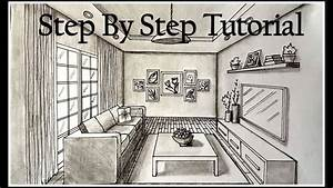 How to draw A Living Room In One Point Perspective| Step ...