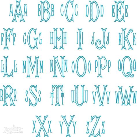 ribbed monogram embroidery font