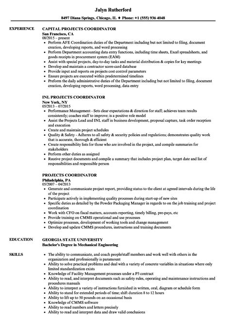 Coordinator Resume by Projects Coordinator Resume Sles Velvet