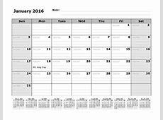 2016 Monthly Julian Calendar 12 Months Bottom Free