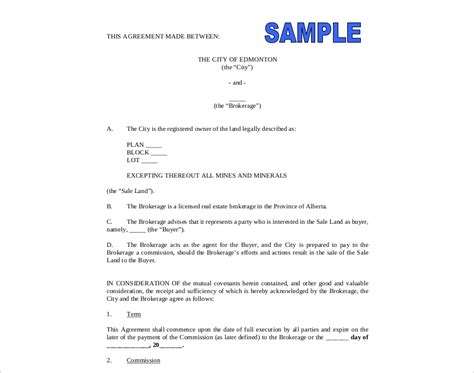 commission agreement examples   pages examples