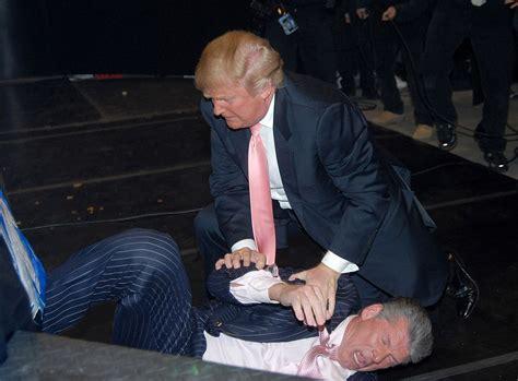 trump mcmahon vince donald wwe wrestlemania 23 battle president years hair billionaires george wrestling shaved front cnn field during johnson