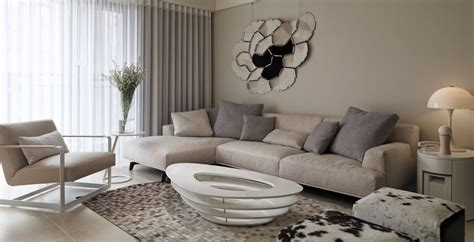 canape couleur taupe neutral contemporary apartment by w c h design studio