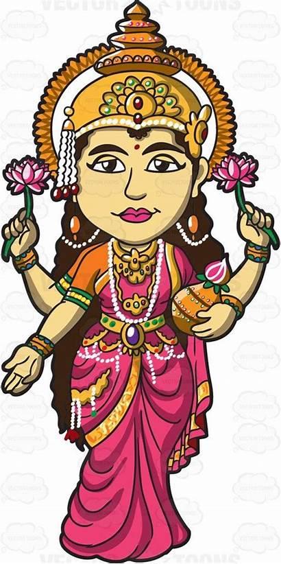 Hindu Goddess Clipart Lakshmi Cartoon Indian Gods