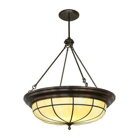 leaded glass bowl pendant crenshaw lighting