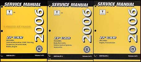 free online car repair manuals download 2001 pontiac aztek electronic valve timing 2006 pontiac g6 repair shop manual 3 volume set original