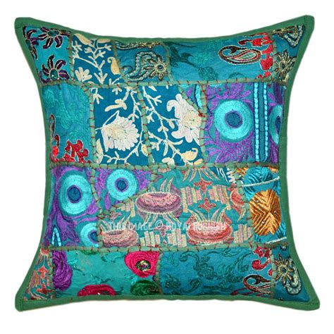 Accent Pillows 16x16 quot green multi patch embroidered boho accent pillow