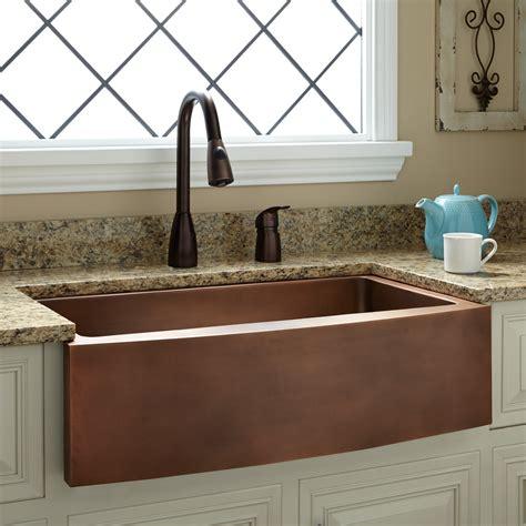kiana curved apron copper farmhouse sink kitchen