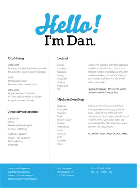 my cv dan holmgren graphic designer
