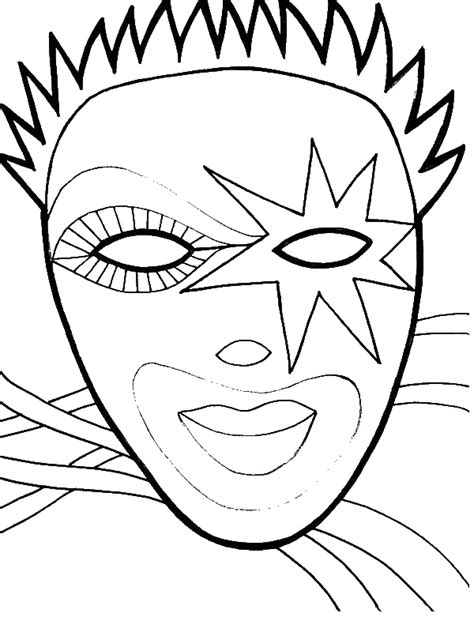 wearing mask  mardi gras fest coloring page