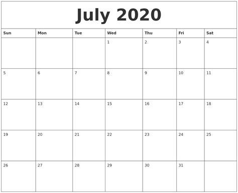 july blank calendar printable