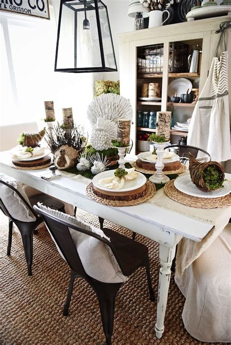 rustic natural thanksgiving table farmhouse chic