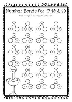 number bonds to 20 twenty worksheets printables no prep by olivia walker