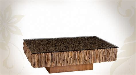 table basse en bois flotte table basse teck et verre design en image