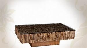 Table Basse En Bois Flotté : table basse base en bois flott et plateau verre tremp ~ Preciouscoupons.com Idées de Décoration