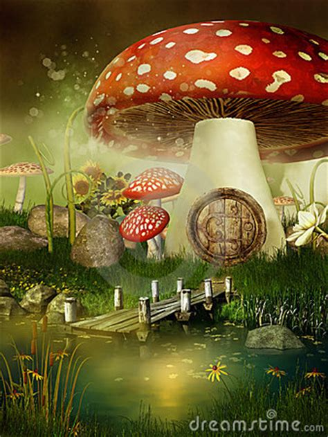 fairytale mushroom house royalty  stock  image