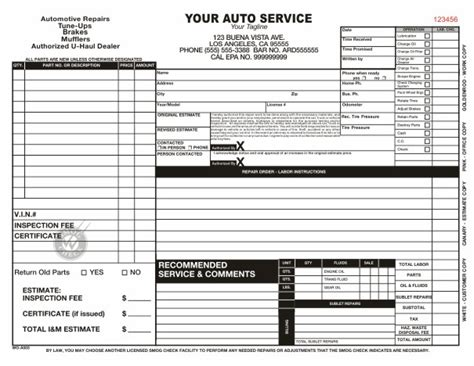 automotive work order template charlotte clergy coalition