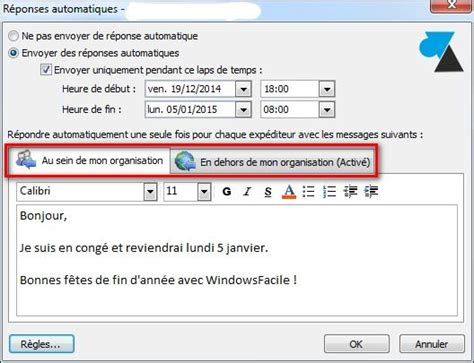 outlook mettre un message d absence pour les vacances windowsfacile fr