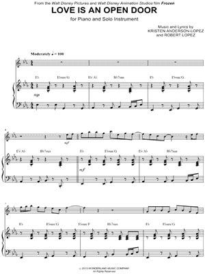 open door notes quot is an open door piano accompaniment quot from frozen