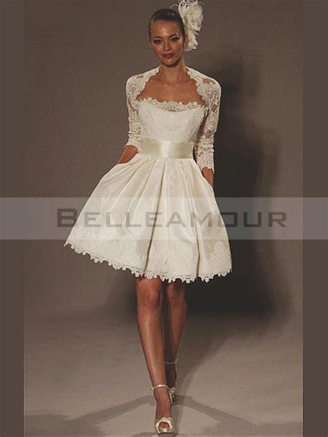 robe de mari 233 e courte satin dentelle bande moderne ivoire