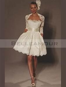 Robe De Mariee Courte : robe de mari e courte satin dentelle bande moderne ivoire ~ Preciouscoupons.com Idées de Décoration