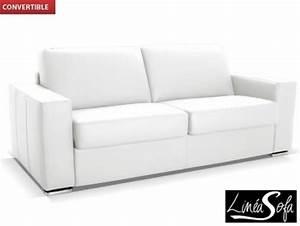 Canapé Blanc Convertible : photos canap convertible cuir blanc ~ Teatrodelosmanantiales.com Idées de Décoration