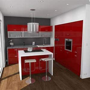 cuisine rouge brillante ouverte implantation en l avec With good meuble ilot central cuisine 3 idee couleur cuisine la cuisine rouge et grise