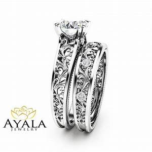 unique diamond bridal set 14k white gold engagement rings With unique white gold wedding rings