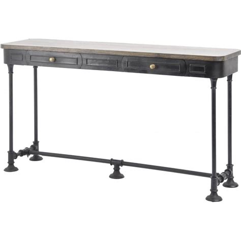 industrial metal console table buy black metal console table with solid wood top from