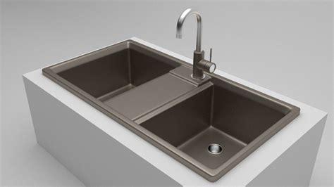 3d Model Kitchen Sink 2 Vr  Ar  Lowpoly Obj 3ds Fbx