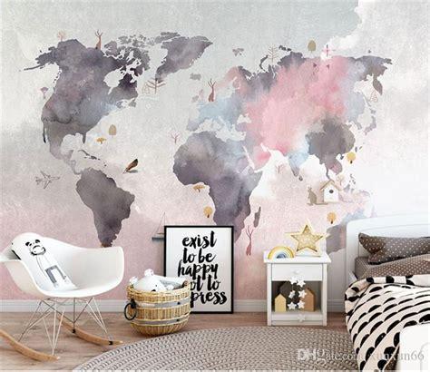compre  pintura abstrata mapa  mundo papel de parede