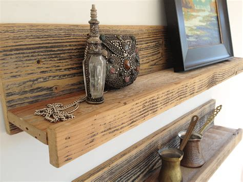 rustic reclaimed wood shelf  home studio office