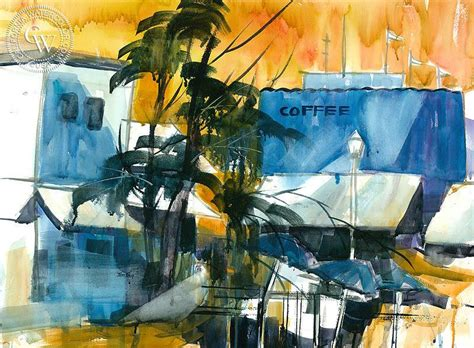 Perfect graphic for greeting cards, postcards, logo, photos, posters, quotes and more. Coffee Shop, a California watercolor painting by Tom Fong - California Watercolor