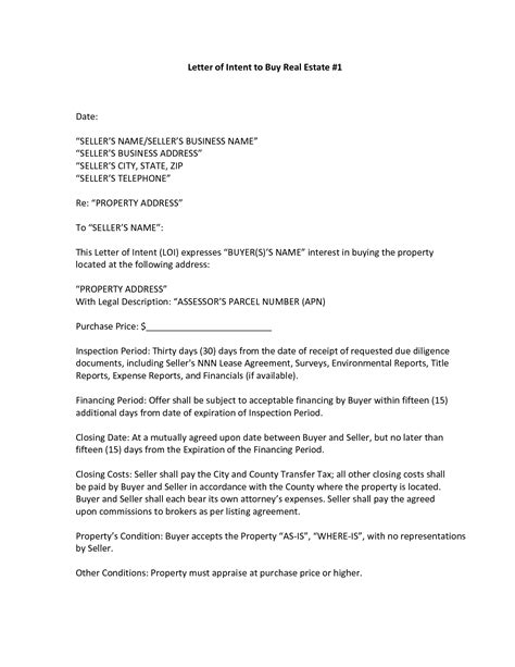 letter of intent to sell a business template exles