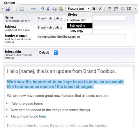 Brand Toolbox  Features  Email Marketing 'brand Updates'